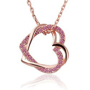 Jewelry - Rose gold pink CZ double heart pendant necklace
